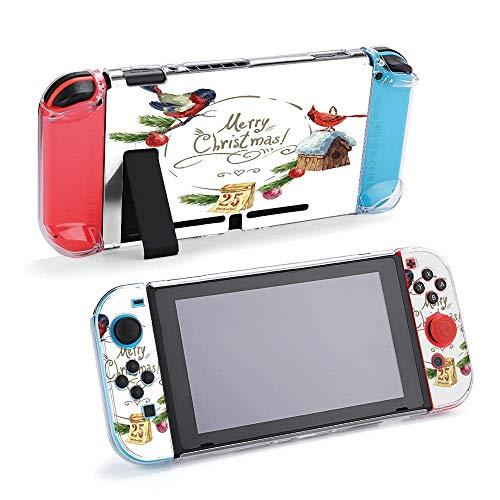 Winter Bullfinch Vogelhaus Weihnachtsbaum Schutzhülle Kompatibel mit Nintendo Switch Soft Slim Grip Cover Shell für Konsole & Joy-Con mit Displayschutzfolie Daumengriffe Design25229