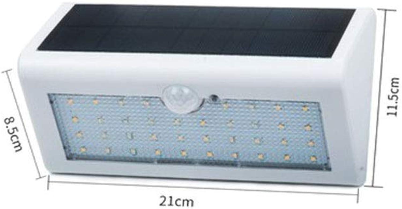 MGMDIAN Sicherheitswandleuchte für Solarfassade, für den Auenbereich mit drahtlosem Bewegungsmelder, wasserdichtem Nachtlicht, Strae - warmweies Licht (Farbe   Wei-38w)