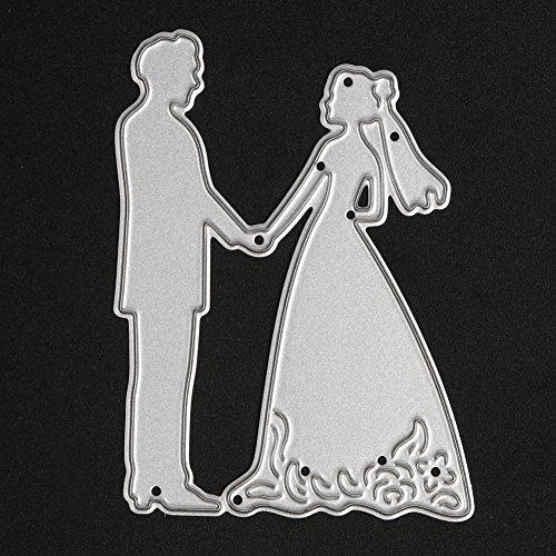 Demiawaking 1Pcs Braut Bräutigam Hochzeit Schneiden Schablonen DIY Sammelalbum Dekor Papier Karten, Metall Buchzeichen, Metall Lesezeichen als Geschenk Fuer Freunde (24)