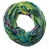 styleBREAKER Feder Muster Batik Style Loop Schlauchschal, Crash and Crinkle, seidig leicht 01016064, Farbe:Grün