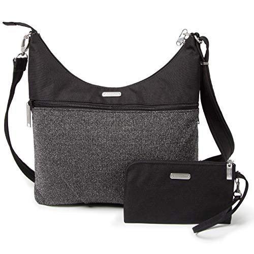 Baggallini Anti-Theft Hobo Bag - Stylish Travel Purse With Locking Zippers and RFID-Protected Wristlet, Black and Gray Design