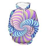 Knowikonwn Hombres 3D Swirl Hoody Popular - Illusion Pullover Chaqueta de Entrenamiento con Capucha White3 s