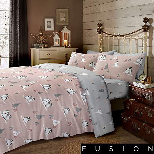 Fusion Two, 100% Brushed Cotton, Blush, King, W230cm x L220cm (Duvet Cover), W50cm x L75cm (Pillow Case)