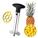 Colorful Stainless Steel Pineapple Corer Peeler, All in One Pineapple Tool Peeler Stem Remover with Sharp Blades Slicer Cutter for Diced Fruit Rings, Easy to Clean (Black)