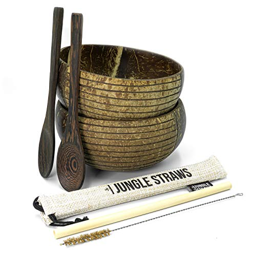 Jungle Culture Boho Coconut Bowls & Spoons | Organic Coconut Bowl Set of 2, Bamboo Straw & Pouch | Durable Easy Clean Coco Shells | Acai Smoothie Bowl Noodle Ramen Bowls | Eco Friendly Vegan Gifts