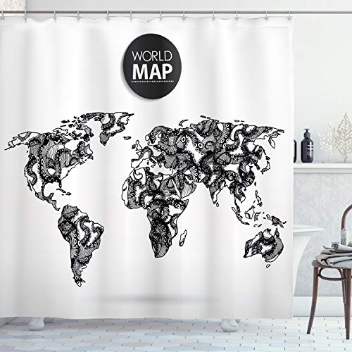 ABAKUHAUS Schwarz-Weiss Duschvorhang, Kraken-Weltkarte, mit 12 Ringe Set Wasserdicht Stielvoll Modern Farbfest und Schimmel Resistent, 175x180 cm, Weiß Schwarz