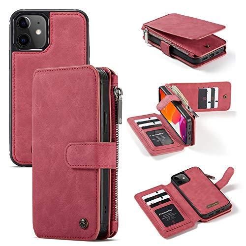 Kunyun 14 tragamonedas de Tarjetas Multifuncional 2 en 1 diseño Desmontable Delgado de la Cartera de la Cartera de la PU para el iPhone 12 (6.1 Pulgadas). (Color : Rojo)