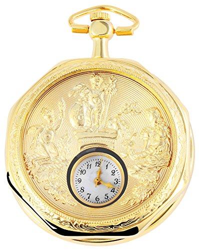 485402000002 - Reloj de Bolsillo Unisex con Cadena (54 mm), Color Blanco y Dorado