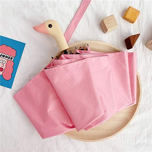 Halbautomatischer Sonnenschirm, niedlicher Entenkopf, Holzgriff, 8 K, 2 Falten, winddicht, schwarze Beschichtung, UV-Schutz, Regenschirme für Damen – Pink-A