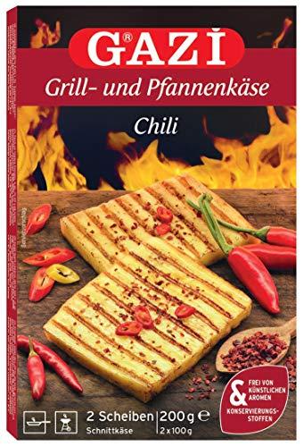 Gazi Grill- und Pfannenkäse Chili - 10x 200gramm - Pfanne Grill Grillkäse Ofen Ofenkäse Backkäse 45% Fett i. Tr. Schnittkäse Käse mikrobielles Lab Halal vegetarisch glutenfrei für Grill und Pfanne