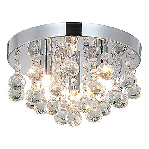 Style home - Lampadario da soffitto in cristallo, 3 fiamme, per soggiorno, camera da letto, sala da pranzo, senza lampadina (diametro 25 cm)