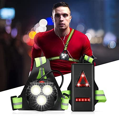 Luce Corsa Ricaricabile USB, Running Light 3 Modi 1000 LM Impermeabile Sport All' Aria Aperta, Perfetto Lampada Corsa, con 360° Nastro Riflettente per Jogging, Campeggio, Corsa (Verde)