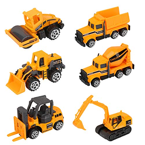 Vegena Bagger Sandkasten Spielzeug, 6 Stück Baufahrzeuge Set Betonmischer Lastwagen Kinderspielzeug Spielzeugauto Sandspielzeug für Kinder ab 3 Jahre Junge Mädchen, Metall Kunststoff