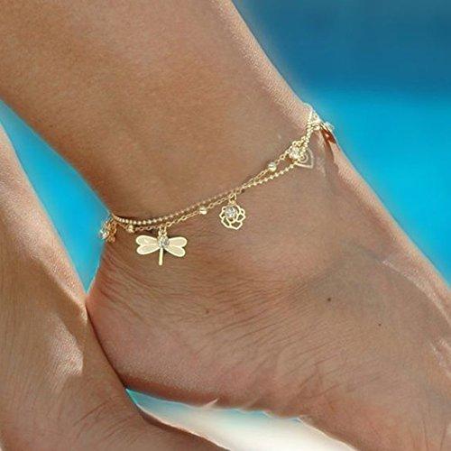 jovono oro pulsera tobillera playa pie libélula campanas tobillera para las mujeres y las niñas