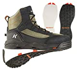 Korkers Greenback Wading Boot with Felt & Kling-On Soles, Dried Herb/Black, Size 12 FB4810-12