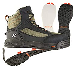 This photo shows the Korkers Greenback wading boots.