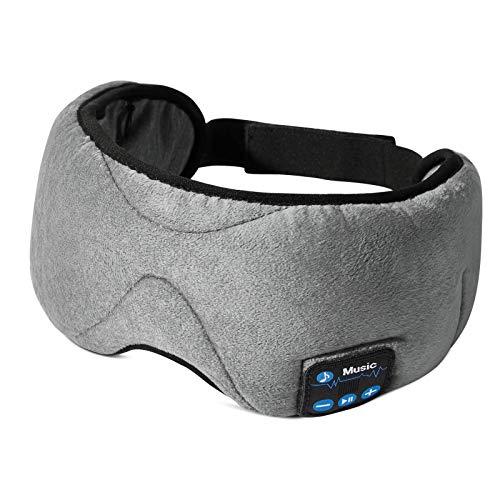 ESR Bluetooth Schlaf Kopfhörer - Schlafmaske/Augenmaske mit kabellosen Bluetooth 5.0 Kopfhörern, Weich & Bequem mit verstellbarem Gurt für Nickerchen, Schlafen, Yoga und Reisen, Waschbar - Grau