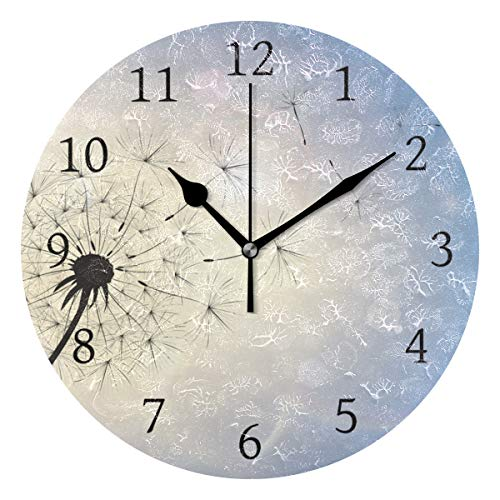Ahomy Pusteblume im Sommer Breeze Ziffern Wanduhr 24cm rund Uhr leise nicht tickend batteriebetrieben leicht ablesbar für Zuhause Büro Schule