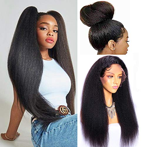 Yaki Kinky Straight Lace Front Wig, MSGEM Brazilian Yaki Lace Front Human Hair Wigs Pre Plucked for Black Women Remy Hair (16 Inch Natural Color)