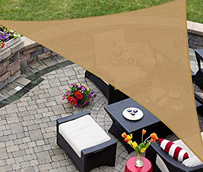 AsterOutdoor Sun Shade Sail Triangle 16' x 16' x 22.64' UV Block Canopy for Patio Backyard Lawn Garden Outdoor Activities, Sand