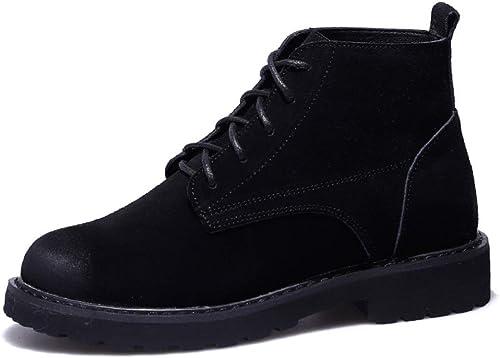 LIANGXIE botas Altas de Senderismo para mujer botas Impermeables botas de Tobillo Gruesas botas de Cuero escarchado botas Planas de Viento británico botas Cortas