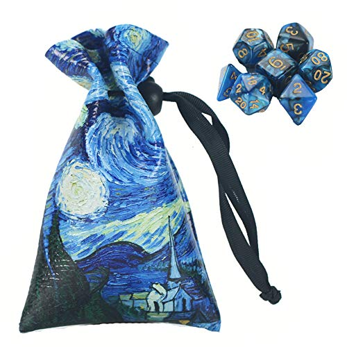 QIELIZI DND Dice Bag Pouch,PU Leather Dragon Dice Pouch Wih 7 Die Set Perfect for Dungeons and Dragons RPG D&D Dices, Coins and Accessories(Starry Sky)