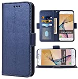 Phone Case for Samsung Galaxy on5 2015 Folio Flip Wallet Case,PU Leather Credit Card Holder Slots Heavy Duty Full Body Protection Kickstand Protective Phone Cover for GalaxyON5 G5500 Men Dark Blue