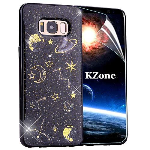 OKZone Galaxy S8 Plus Hülle, Luxus Glitzer Bling Glänzende Design Weich TPU Case Silikon Schutzhülle Handy Tasche Rückseite Hülle Etui Cover TPU Schale für Samsung Galaxy S8 Plus (Schwarz)