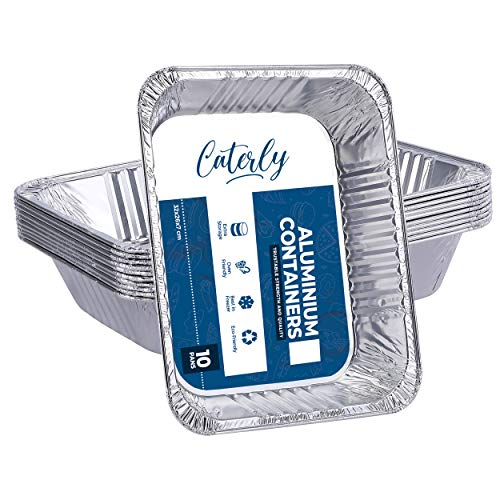 Caterly Large Aluminium Foil Trays 32x26 cm Pack of 10 Tin Foil Trays for BBQ, Cooking, Baking, Broiling, Roasting - Takeaway Containers with More Gastronorm Half Size Pan - Catering Trays for Storage