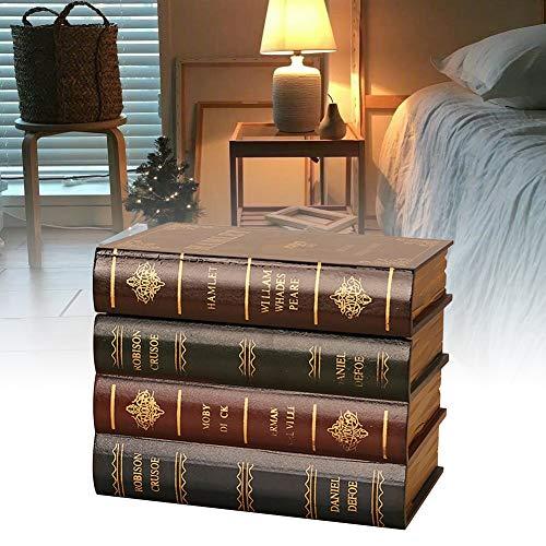 HLJS Caja de almacenamiento para libros falsos falsos vintage, clásica, decorativa, falso, caja de almacenamiento para libro ornamental, madera antigua