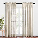 NICETOWN Semi-Sheer Curtains for Living Room - Rod Pocket Design Linen Textured Drapes Balance Light & Privacy Window Coverings for Farmhouse (52' x 84', 2 Panels in Taupe)