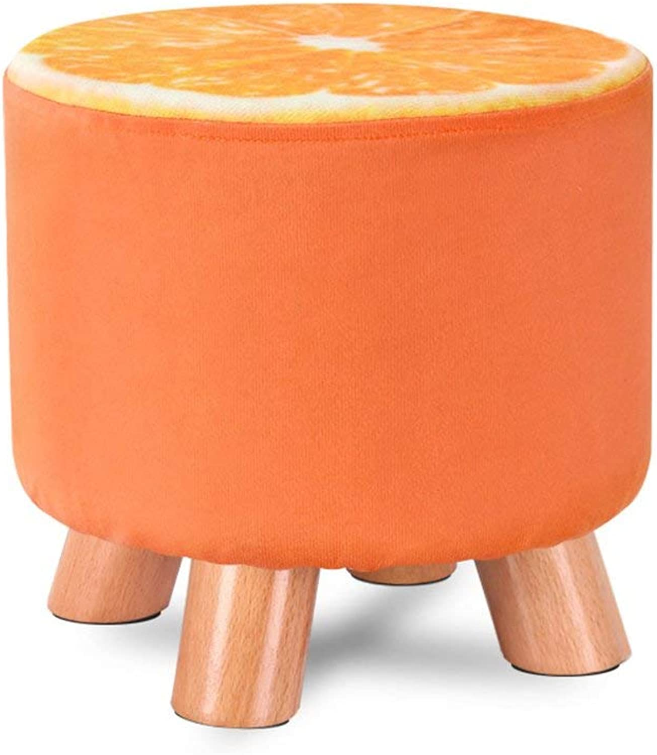 GJD Sofa Stool Solid Wood shoes Bench shoes Bench Cloth Art Stool Tea Table Bench Home Stool Diameter 28× Height 25cm Strong and Sturdy Foldable Leather Sofa Stool (color    3)