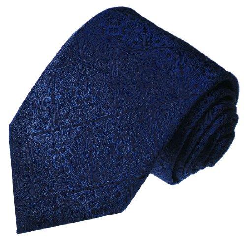 Lorenzo Cana - Marken Krawatte aus 100{c91968b0cf819e3ff89070586b4daa7736c539cf984a7cc5719d53ebb2803527} Seide - blau dunkelblau Barockmuster - 25016