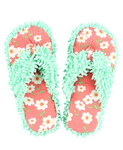 Lazy One Women's Rise and Shine Daisy Plush Thong Flip Flop Slippers L/XL