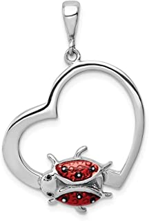 925 Sterling Silver Heart Enameled Ladybug Pendant Charm Necklace Insect Fine Jewelry Gifts For Women For Her