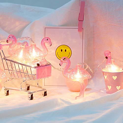 ZRR LED Flamingo Light String Weihnachten Tag Dekorative Licht Flamingo Urlaub Licht Indoor Und Outdoor Wasserdicht Batteriebetriebene Silver Line Licht (Pink),6Meters