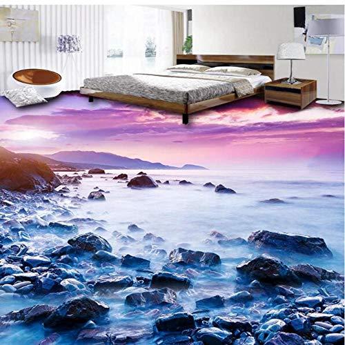 3D zelfklevend vloerbehang zee landschap tegels tegels tegels vloertegels badkamer keuken PVC lijm waterdicht zelfklevend 300 x 210 cm.