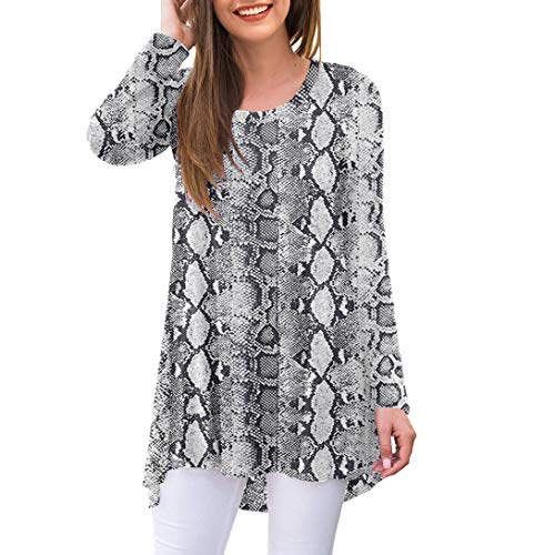 AWULIFFAN Women's Casual Long Sleeve Round Neck Loose Tunic T Shirt Blouse Tops (Flower White Snake,Large)