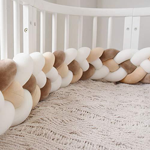 GLITZFAS Bettausstattung Kantenschutz Kopfschutz für Babybett Baby Nestchen Bettumrandung Weben Geflochtene Stoßfänger Dekoration für Krippe Kinderbett 220cm (Milchweiß + weiß + kaffee + beige)