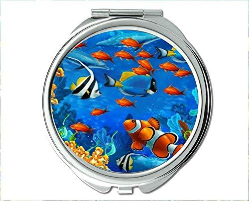 Yanteng Spiegel, Schminkspiegel, Spielfischmotiv des Taschenspiegels, tragbarer Spiegel 1 X 2X Vergrößerung