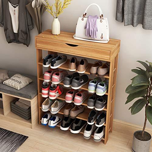 soges Schuhregal Schuhschrank Holz 5 Etagen, 75 * 30 * 94CM Schuhablage Schuhständer Schuhregal für Wohnzimmer, Diele, Flur, Teak L24-TK