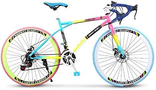 BXWT Colores del Arco Iris de 26 Pulgadas de 24 velocidades Bicicleta de montaña Bicicleta de Adulto al Aire Libre Estudiante Motos Deportivas de Ciclismo de Carretera Bicicletas estáticas Bicicletas