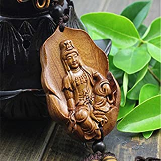 HOT- Chinese Wood Carving - Happy Buddha Statue Folk Art Decortaion Product Car Hangings Decoration Chinese Wood Crafts Engravable Gifts 6-Ahj025 - - 1 Pcs