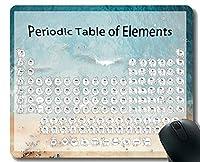 元素の周期表科学化学チャートカスタマイズされたマウスパッド、ビーチの空中写真ステッチされたエッジのあるテーマのマウスマット