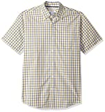 Amazon Essentials – Camisa informal de popelín a cuadros de manga corta de corte recto para hombre, Gold/Navy Plaid, US M (EU M)