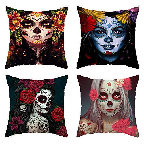 4Pcs Halloween Pillow Case Halloween Pillow Covers Halloween Decor Square Pillowcase Pumpkin Spider Horror Terror Style Happy Halloween Sofa Counch Bed Chair Throw Cushion Cover Decoration 18' x 18'