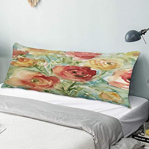 KIMDFACE Funda de Almohada para el Cuerpo,Flor Abstracta Flor Grande Floral Acuarela Flores Rústico Moderno Cortijo Shabby Chic,Funda de Almohada Rectangular para sofá, Cama, Dormitorio y Coche