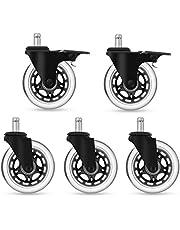 YOHOOLYO 5 Set bureaustoelwielen Rustige wieltjes Caster wielen geschikt voor de meeste draaistoelframes Black MEHRWEG