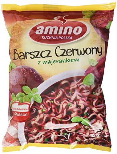 Amino Polnische Instant-Nudelsuppe asiatischer Art mit Würzmischung, mit Rote-Bete-Geschmack Zupa barszcz Czerwony, 22er Pack (22 x 66 g)