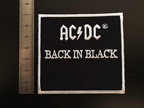 Patch Aufnäher Flicken – Motiv: AC DC, Back in Black, zum Aufbügeln